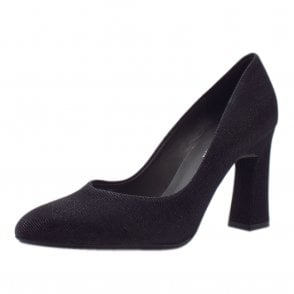 Klara Glitz Court Shoe in Black Shimmer