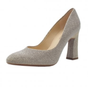 Klara Glitz Court Shoe in Sand Shimmer