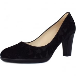 Kolin Stylish Black Velvet Suede Heel Pumps