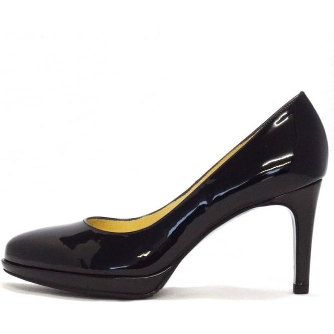 Konia smart mid heel court shoes in black patent