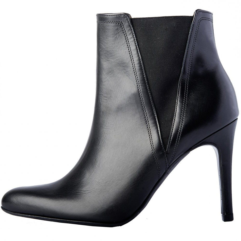 Peter Kaiser Kuba | Black nappa leather ankle boots with stiletto heel
