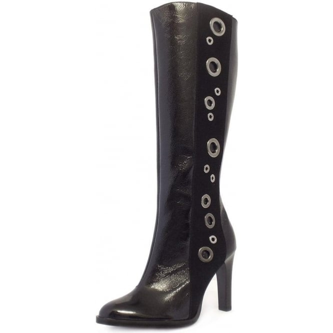 Kubana Black Crackle Patent Leather Long Boots