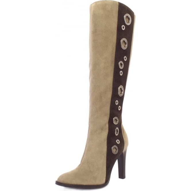 Kubana Taupe And Cacao Suede Long Boots
