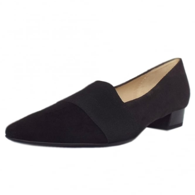 Lagos Black/Carbon Suede Pointy Toe Low Heel Shoes