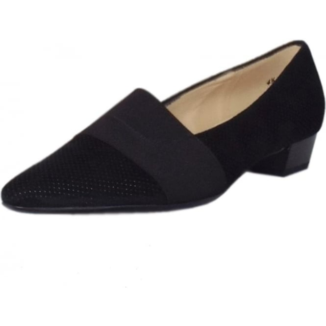 Lagos Black Speckle Suede Pointy Toe Low Heel Pumps