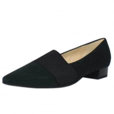 Lagos Bottle Suede Pointy Toe Low Heel Pumps