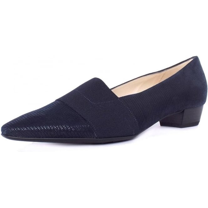 Lagos Navy Lizard Suede Pointy Toe Low Heel Pumps