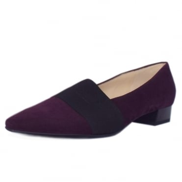 Lagos Plum Suede Pointy Toe Low Heel Pumps