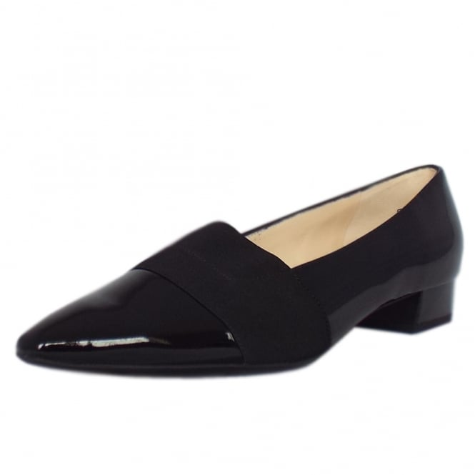 Lagos Pointed Toe Ballet Pumps in Black Patent