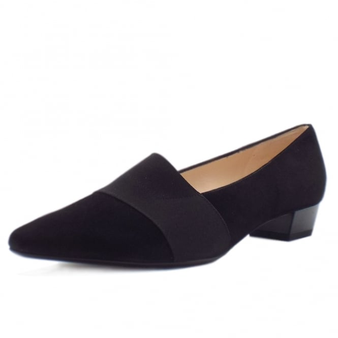 Lagos Pointed Toe Ballet Pumps in Black Suede