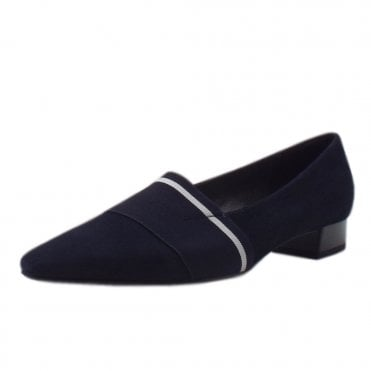 Lagos Pointed Toe Ballet Pumps in Navy Suede