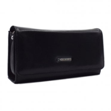 Lanelle Black Chevro Leather Clutch Bag