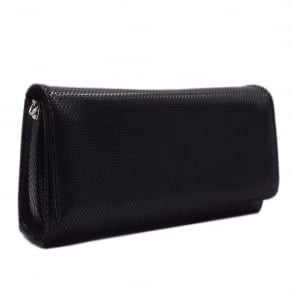 Lanelle Black Cube Leather Clutch Bag