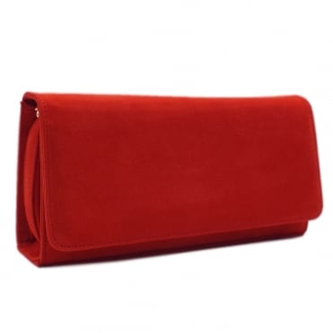 Lanelle Coral Red Brasil Suede Clutch Bag