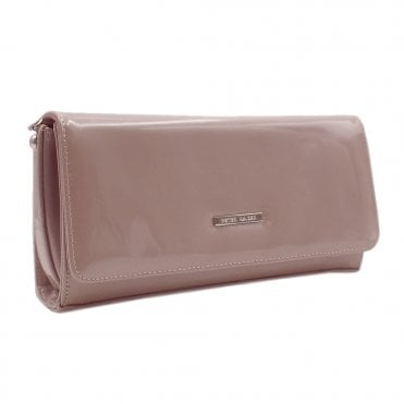 Lanelle Mauve Mura Patent Leather Clutch Bag