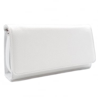 Lanelle White Pin Leather Clutch Bag