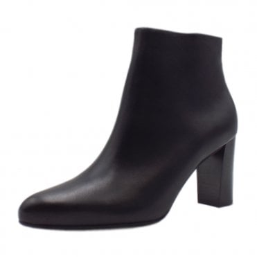 Lara Ladies Leather Ankle Boot in Black