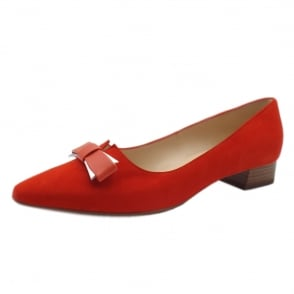 Leah Coral Red Brasil Suede Pointed Toe Ballet Pumps
