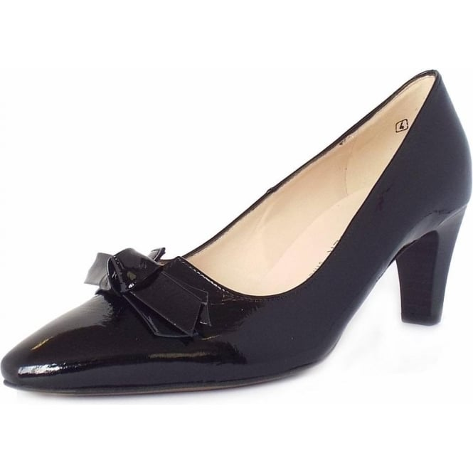 Leola Black Crackle Patent Mid Heel Pumps With Bow