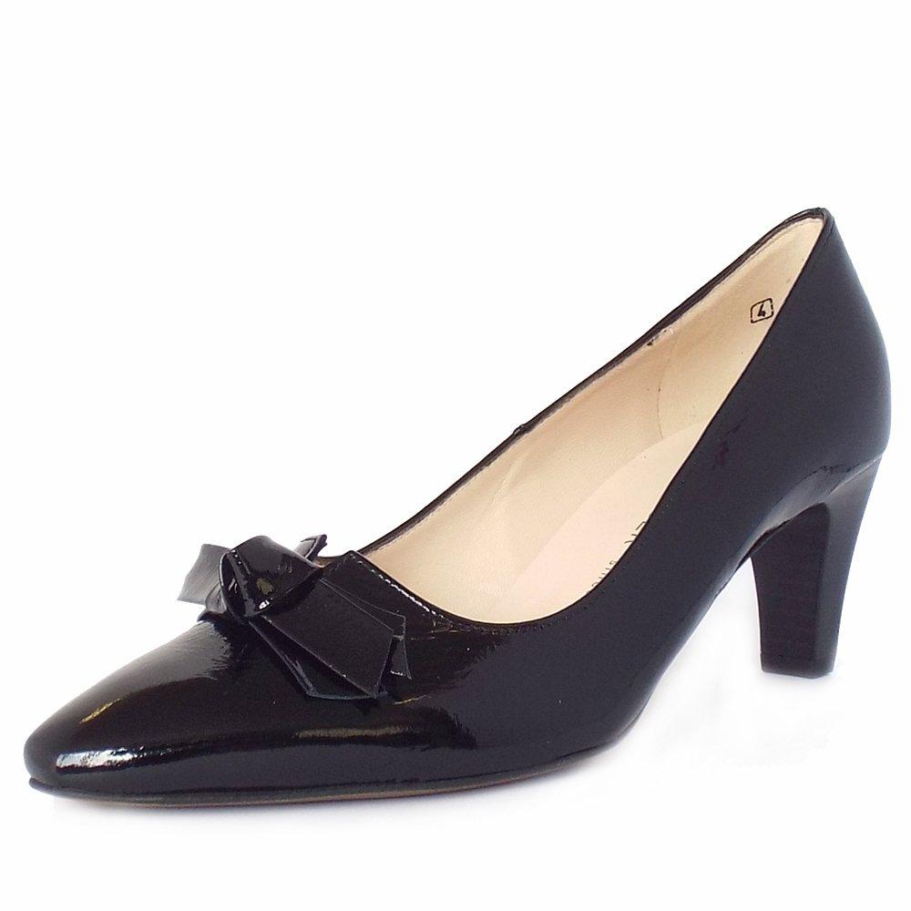 peter kaiser uk leola black crackle patent mid heel. Black Bedroom Furniture Sets. Home Design Ideas