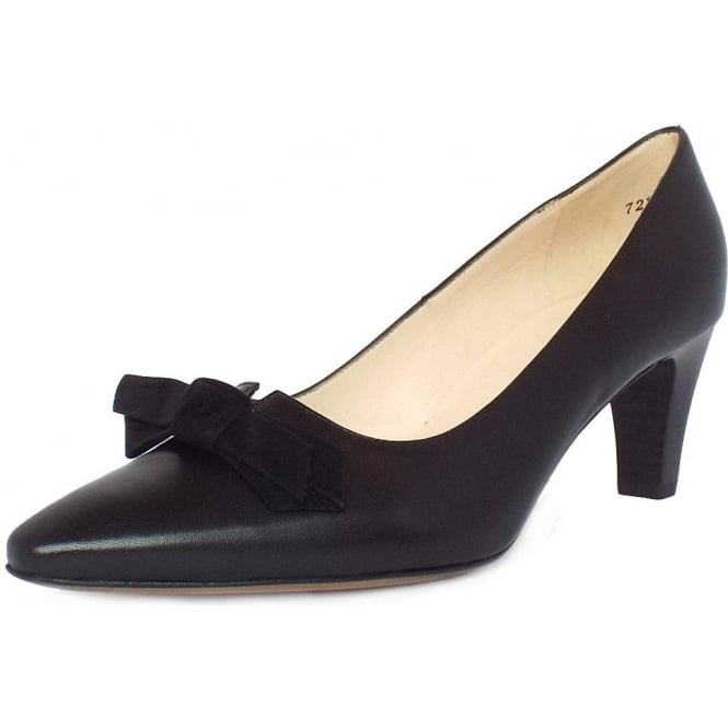 Leola Black Leather Bow Trim Mid Heel Pumps