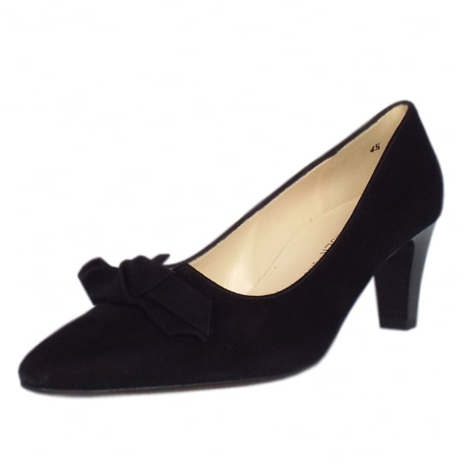 Leola Black Suede Court Shoes With Bow