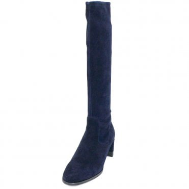 Peter Kaiser Lesly Pull On Stretch Knee High Boots in Navy Suede
