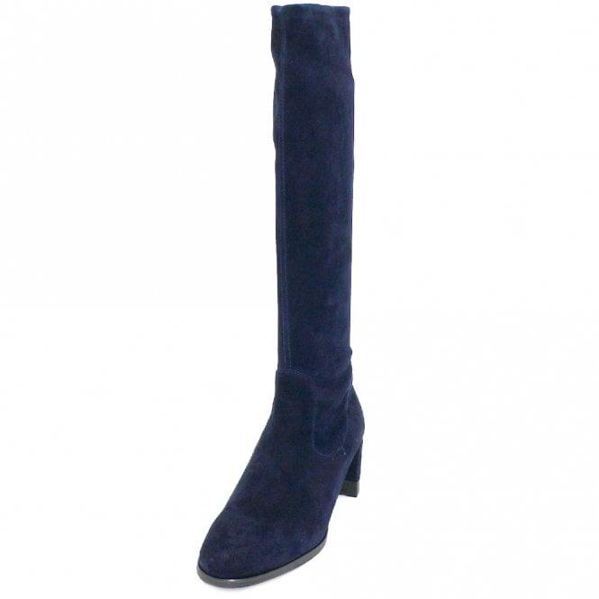 navy knee high suede boots