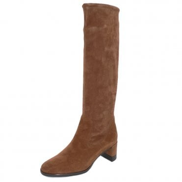 Lesly Pull On Stretch Knee High Boots in Sable Suede