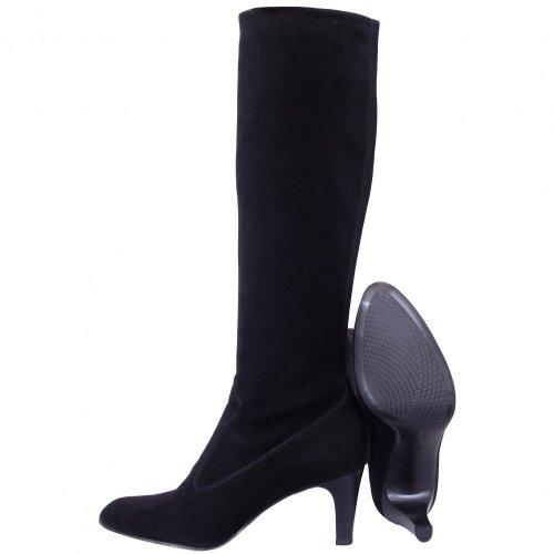 kaiser levke black suede pull on strtch boots