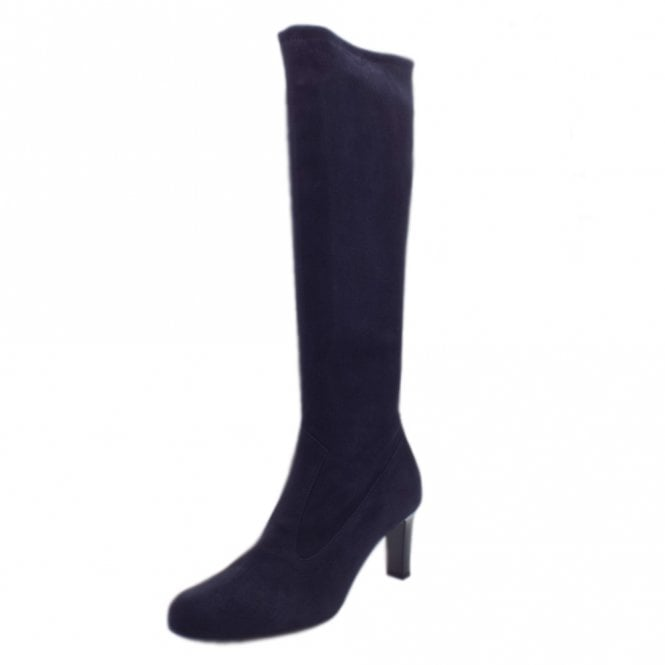 Levke Navy Stretch Suede Pull On Boots