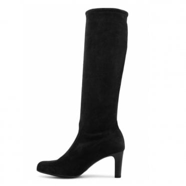 Levke Pull On Stretch Knee High Boots in Black Suede