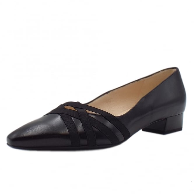 Liesel Black Leather Low Heel Pumps with cross-over straps