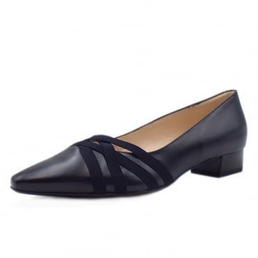 Liesel Navy Leather Low Heel Pumps with cross-over straps