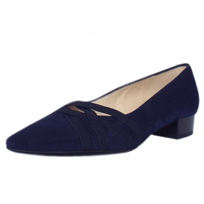 Liesel Notte Suede Low Heel Pumps with elasticated cross-over straps