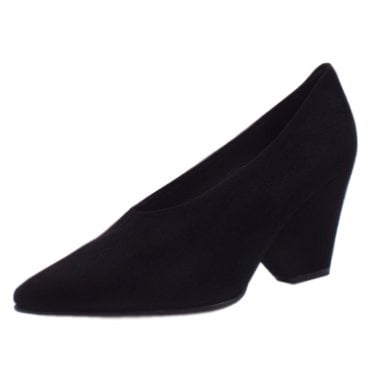 Lijana Stylish Wedge Court Shoes in Black Suede