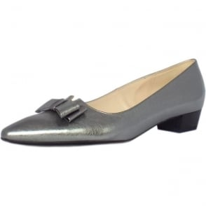 Lisa Steel Graffiti Silver Brushed Effect Leather Pumps