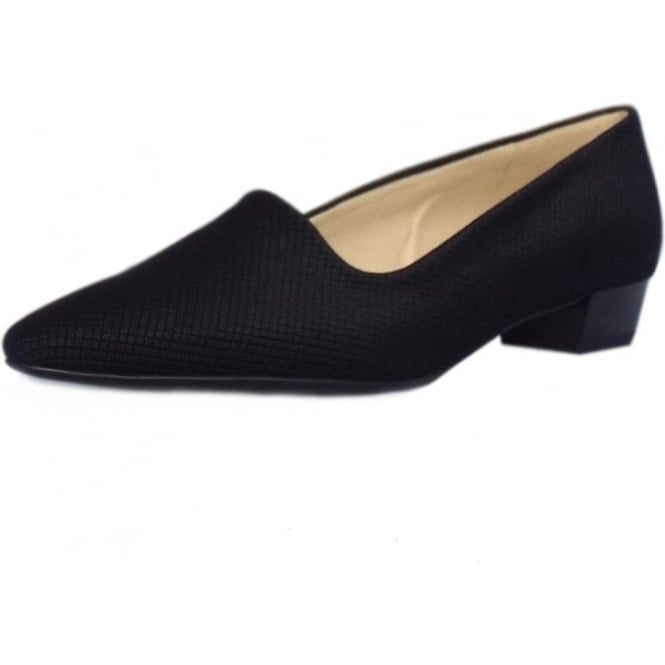 Lisana Black Textile Pointy Toe Low Heel Pumps