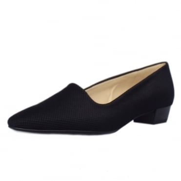 Lisana Pointed Toe Low Heel Courts in Black Textile