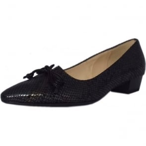 Lizzy Black Logger Pointed Toe Ballet Pumps