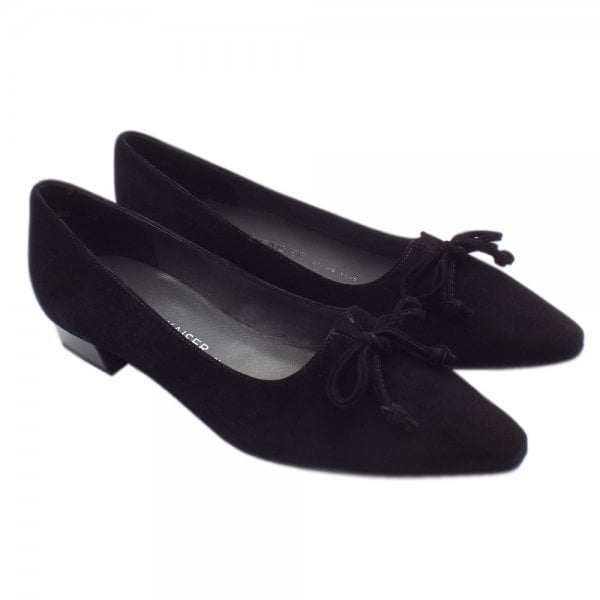 4791d4d05efb ... Lizzy Pointed Toe Low Heel Shoes In Black Suede ...