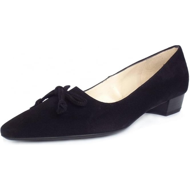 Lizzy Black Suede Low Heel Pointed Toe Pumps