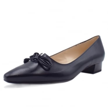 Lizzy Navy Chevro Leather Pointed Toe Ballet Pumps