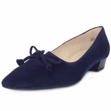 Lizzy Notte Navy Suede Pointy Low Heel Pumps