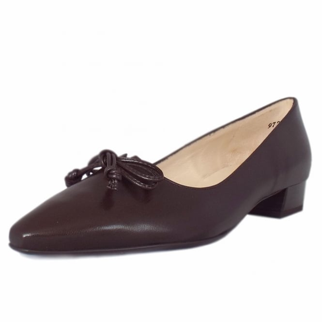 Lizzy Pointed Toe Low Heel Courts in Nuba Chevro