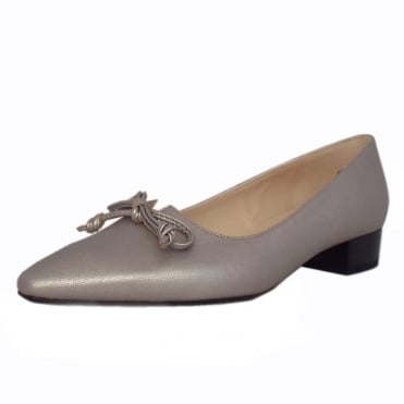Lizzy Pointed Toe Low Heel Courts in Silver Furla Leather