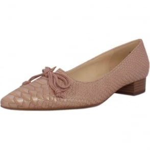 Lizzy Powder Birman Leather Pointed Toe Ballet Pumps
