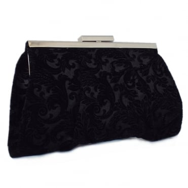 Lomasi Black Velvet Suede Small Clutch Bag