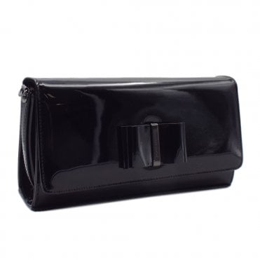 Londara Black Lack Leather Clutch Bag