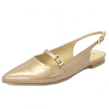 Lucanda Slingback Shoes in Sand Patent